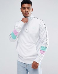 Illusive London Muscle Track Jacket In White With Half Zip White