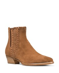 Michael Kors Collection Presley Whipstitched Low Heel Booties Dark Luggage