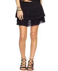 Denim And Supply Ralph Lauren Ruffled Two Tier Miniskirt Polo Black