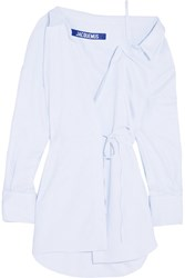 Jacquemus Striped Cotton Wrap Mini Dress White