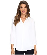 Nydj Solid Blouse W Pleated Back Optic White Women's Blouse
