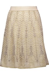 M Missoni Metallic Crochet Knit Skirt Gold