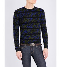 Dsquared Camo Print Knitted Wool Jumper Green Blue Black