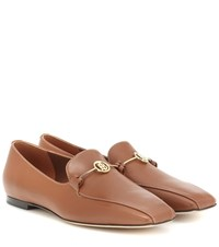 Burberry Monogram Leather Loafers Brown