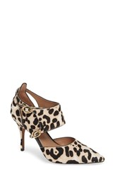 Linea Paolo Posh Ii Pointy Toe Pump White Black Leopard Haircalf
