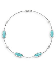 Judith Ripka Chelsea Amazonite White Sapphire And Sterling Silver Station Necklace Silver Blue
