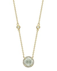 Kiki Mcdonough Grace Green Amethyst And Diamond Halo Pendant Necklace