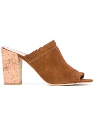 Tory Burch Fringed Cork Mules Brown