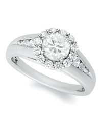 Macy's Certified Round Cut Diamond Halo Engagement Ring In 14K White Gold 1 1 4 Ct. T.W.