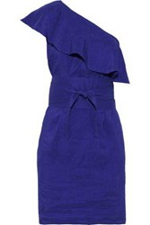 Vanessa Bruno Woman Ilesse One Shoulder Ruffled Seersucker Mini Dress Royal Blue
