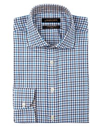 Jaeger Men's Herringbone Check Slim Shirt Blue