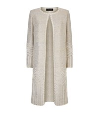St. John Metallic Knit Long Evening Coat Female Multi