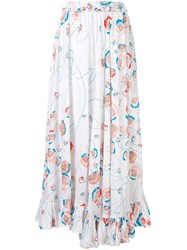 All Things Mochi Long Floral Print Skirt White