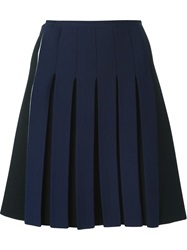 Cedric Charlier Cedric Charlier Pleated Front Short Skirt Blue