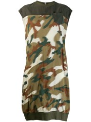 Zucca Blurry Camouflage Jersey Dress Green