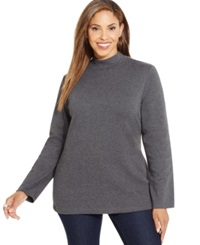 Karen Scott Plus Size Long Sleeve Mock Turtleneck Top Only At Macy's Charcoal Heather