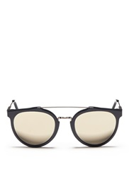 Super 'Giaguaro Specular' Double Bridge Acetate Cat Eye Sunglasses Blue