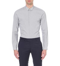 The Kooples Pinstripe Cotton Shirt Navy White