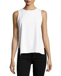 Alice Olivia Gayle Clean High Side Slit Tank White
