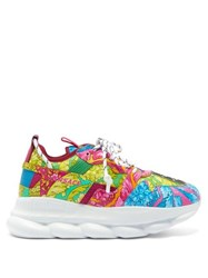Versace Chain Reaction Baroque Print Leather Trainers Pink Multi