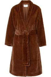 Vince Belted Faux Fur Coat Brown