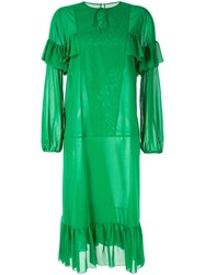 Rochas Ruffle Trim Dress Green