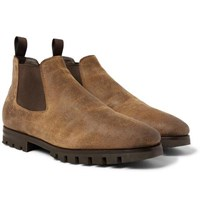 Santoni Shearling Lined Oiled Suede Chelsea Boots Brown