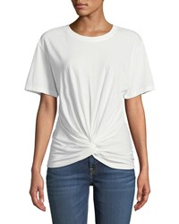 7 For All Mankind Crewneck Short Sleeve Knotted Front Cotton Tee White