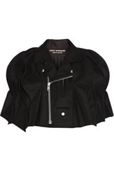Junya Watanabe Cropped Honeycomb Pleated Melton Wool Blend Cape Black