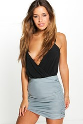Boohoo Daphne Ruched Slinky Mini Skirt Grey