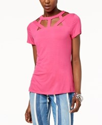 Inc International Concepts I.N.C. Cutout Neck Top Created For Macy's Intense Pink