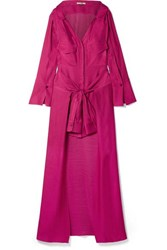 Hellessy Knotted Linen And Silk Blend Jacquard Maxi Dress Plum