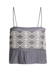 Thierry Colson Saksi Lace Embroidered Cami Top Grey White