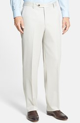 Men's Big And Tall Berle Flat Front Wool Gabardine Trousers Stone