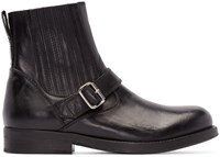 Diesel Black Gold Black Leather Buckle Boots