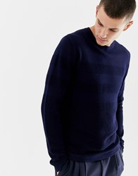 Jack And Jones Premium Knitted Jumper With Mixed Jacquard Stripe Detail Maritime Blue Navy