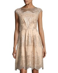 Kay Unger New York Embroidered Tulle Fit And Flare Dress Mocha