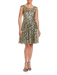 Vera Wang Two Toned Embroidered Dress Black Gold