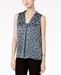 Nine West Printed Ruffle Neck Shell Teal Multi