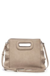 Sole Society Faux Leather Satchel Beige Taupe