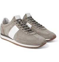 Tom Ford Orford Leather Panelled Suede Sneakers Gray