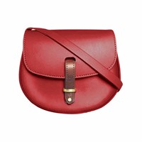 N'damus London Mini Victoria Red Leather Crossbody Saddle Bag