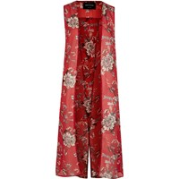 River Island Womens Red Floral Print Sleeveless Duster Jacket