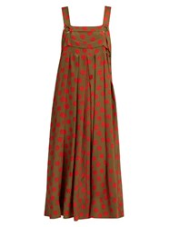 Rachel Comey Paw Print Silk Crepe Midi Dress Green Multi