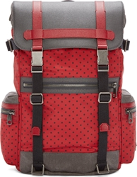 Dolce And Gabbana Grey And Red Polka Dot Backpack