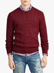 Ralph Lauren Polo Long Sleeve Cable Knit Jumper Classic Wine