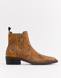 Selected Femme Leather Snake Western Ankle Boots Brown