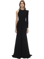 Alex Perry Long Draped Techno Crepe Dress Black