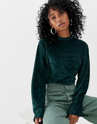Weekday Velour Sweatshirt In Dark Green Dark Green Blue