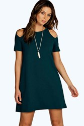 Boohoo Cut Out Shoulder Shift Dress Teal